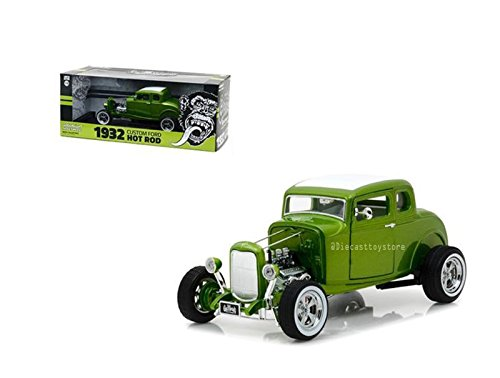 NEW DIECAST TOYS CAR GREENLIGHT 1:18 HOLLYWOOD - GAS MONKEY GARAGE - 1932 CUSTOM FORD HOT ROD (METALLIC GREEN) 12974