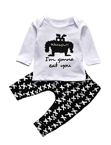 Toddler Infant Baby Boys Clothes Newborn Halloween Long Sleeve Top Little Monster T-Shirt Cross Print Pants Outfit Set (White, 6-12Months)