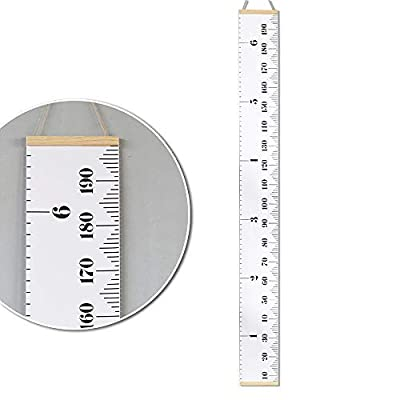 """Growth Chart for Kids Roll-up Canvas Height Chart with Wood Frame Hanging Ruler Wall Decor 1 Marker Pen Measure Children Height from Birth Portable 79\"""" x 7.9\"""": Home & Kitchen [5Bkhe1206161]"""