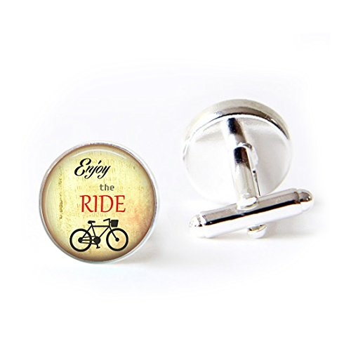 LEO BON Mens Classy Cufflinks Tile Inspirational Sayings Tile Jewelry Bicycle Deluxe Wedding Business Cuff Links Movement Shirts Studs Button from LEO BON