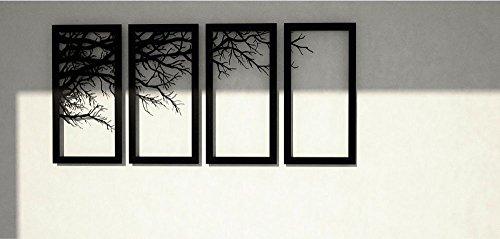 Beautiful Modern Metal Wall Hangings For Your Home: 4 Frames Laser Cut On Metal Sheet Stunning Tree Metal Wall