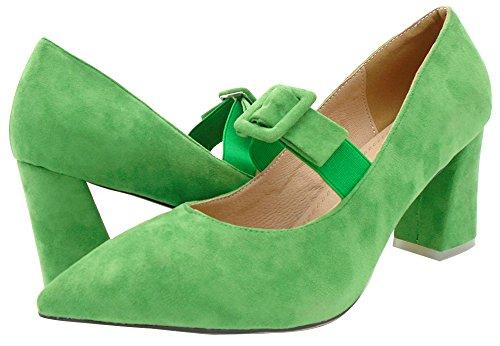 Alnice Nubuck Pumps Elastic Buckle Straps Chunky High Heels Pointed Toe Grün
