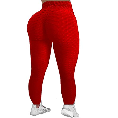 Womens High Waist Textured Workout Leggings Booty Scrunch Yoga Pants Slimming Ruched Tights (Red, S) (Leggings Red Tights)