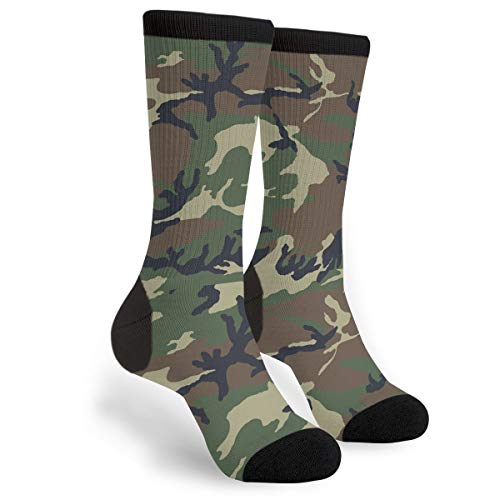 NGFF Camouflage Woodland Texture Men Women Casual Crazy Funny Athletic Fancy Novelty Graphic Crew Tube Socks Moisture Wicking Gift ()