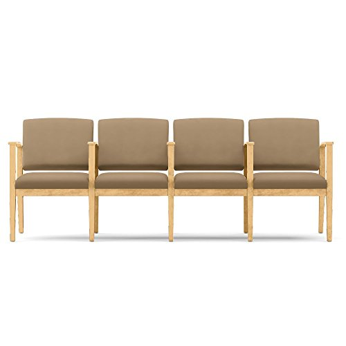 Amherst Four Seat Vinyl Sofa with Center Arms Dimensions: 88.5''W x 23.5''D x 33''H Seat Dimensions: 19.5''Wx18''Dx18.5''H Taupe Vinyl/Natural Frame by Lesro