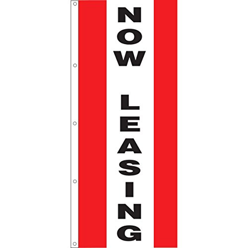 Vertical Now Leasing Striped Flag, Red/White/Red, 3' x 8' by Peachtree (Image #1)