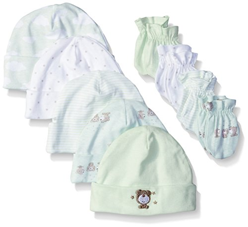 Gerber Baby 9-Piece Cap and Mitten Bundle, Teddy Bear, Newborn