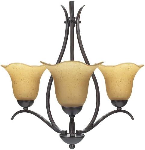 Globe Senneville Three-Light Chandelier, Dark Coffee with Amber Globes 60857