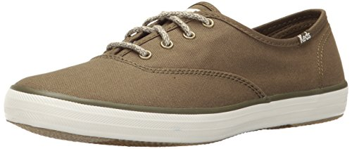 Keds Champion Canvas Sneaker (Keds Women's Champion Seasonal Solid Fashion Sneaker, Olive, 8.5 M US)