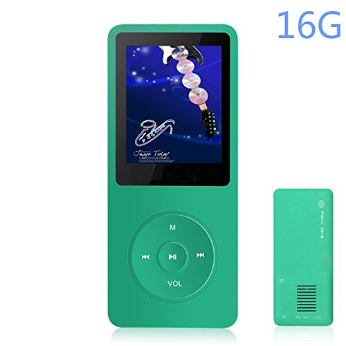 HONGYU 16GB MP3 / MP4 Music Player Hi-Fi Sound 50 Hours Playback , 1.8 Inch Screen Portable Audio Player Built-in Speaker , Expandable Up to 64GB with FM Radio Voice Recorder (Green)