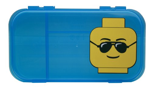 Free IRIS LEGO Minifigure and Brick Storage Case, Blue