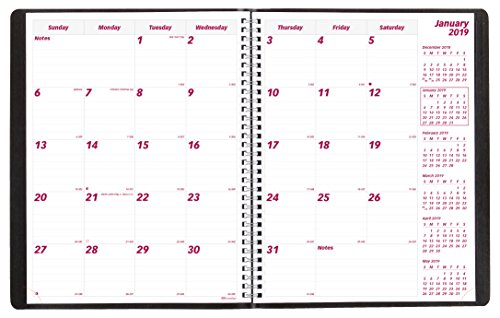 Brownline 2018-2019 Monthly Planner, 16 Months, (Sept 2018 - December 2019), Twin-Wire, 11 x 8.5 inches, Black (CB1260.BLK-19)