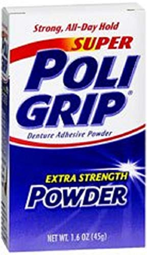 PoliGrip Super Denture Adhesive Powder, Extra Strength 1.6 oz Container (2)