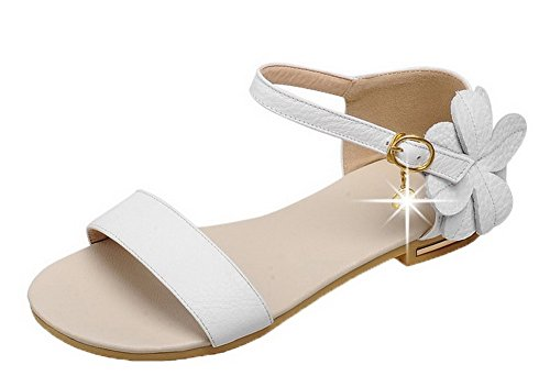 AalarDom Femme Blanc Couleur Boucle Unie Talon Sandales à Bas rO8rnqaxwd