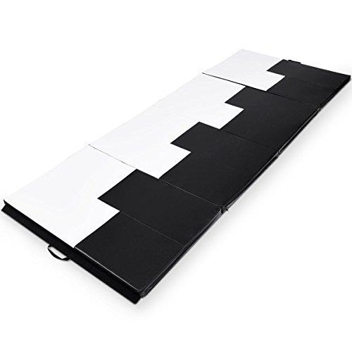 Gymnastics Exercise Mat 4'x10'x2 Thick Folding Panel Aerobics Gym Fitness White&Black with Ebook