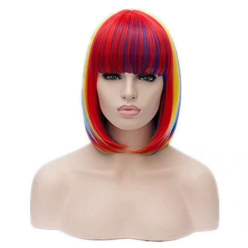 (Kadiya Women Synthetic Rainbow Colorful Unicorn Cosplay Wigs Short Bob Full Wig for Party)