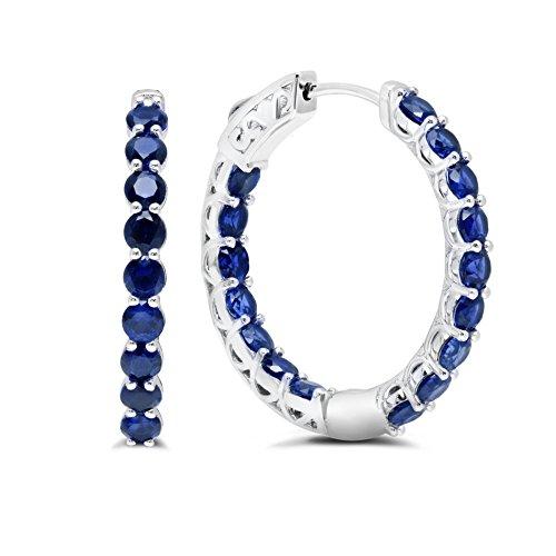 Sterling Silver Inside/Out 3mm Created Blue Sapphire Hoop Earrings (1'' - Sterling Hoop 1' Silver