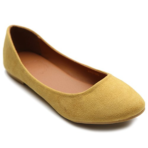 Ollio Womens Shoe Ballet Light Faux Suede Low Heels Flat ZM1014(6.5 B(M) US, Mustard)