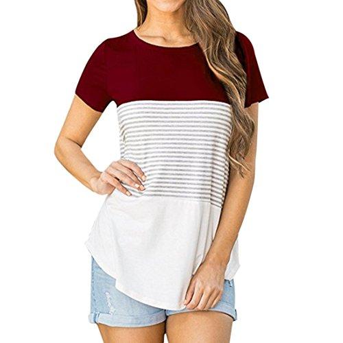 Poluck Womens Loose Short Sleeve Patchwork StripeSummer Crop T-Shirt Casual Tops Blouse For Leggings Flowy Shirt (Wine Red, M)
