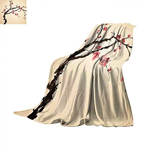 Betterull Japanese Custom Design Cozy Flannel Blanket Traditional Chinese Paint of Figural Tree with Details Brushstroke Effects Print Digital Printing 60