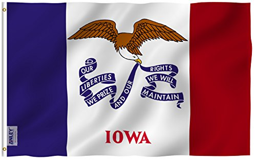Anley Fly Breeze 3x5 Foot Iowa State Flag - Vivid Color and
