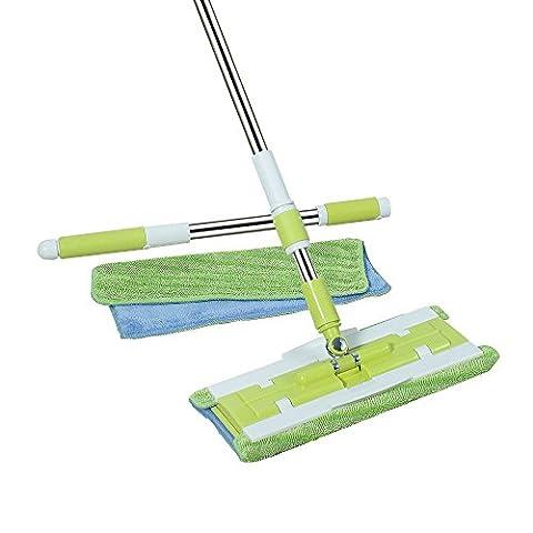 Senmo Microfiber Flat Mop, Floor Mop Flat for Hardwood, Laminate and Tile Flooring, 2 Mop Cloths - Microfiber Hardwood Floor Mop