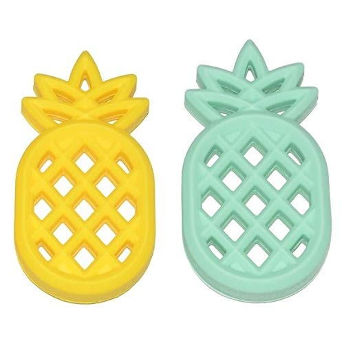 Meerkatto Silicone Pineapple Teether, 2 Pack, Yellow and Mint