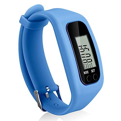 Bomxy Fitness Tracker Watch, Simply Operation Walking Running Pedometer with Calorie Burning and Steps Counting (Blue-5)