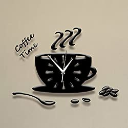 Modern Creative 3D Coffee Cup Pointer Clock Acrylic Ultra-quiet Wall Clock Acrylic Stickers Clock Home Decoration Bedroom Living Room Wall Decor Art , Black