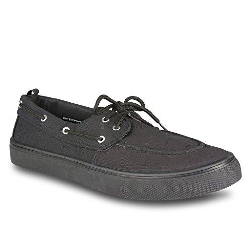 Influence Mens Casual Fashion Boat Shoe, Black Combo, Size 10