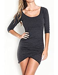 Women Half Sleeve Ruched Tight Dress Evening Party Short Mini Wrap Dresses
