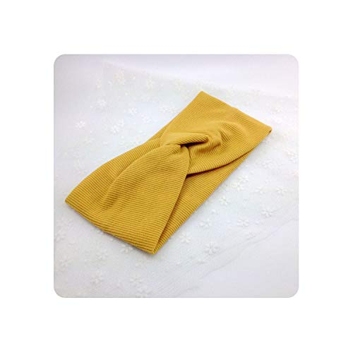 Women Autumn Suede headband Vintage Cross Knot Elastic Hair Bands Soft Solid Girls Hair Accessories,3 Yellow