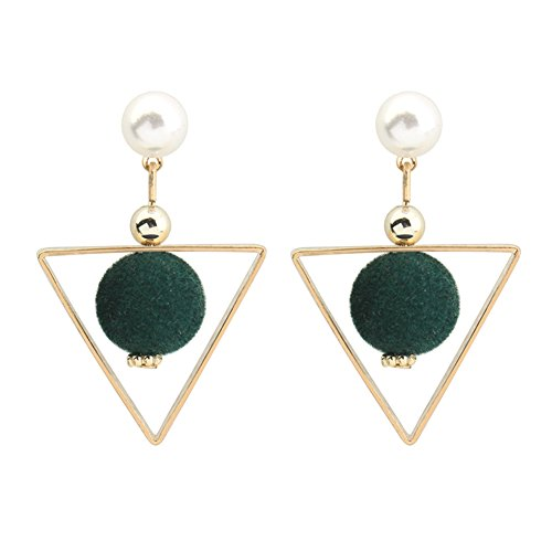 Chen Rui(TM) Jewelry Gold Color Triangle Pearl Plush Ball Stainless Copper Stud Earrings - Copper Green Color