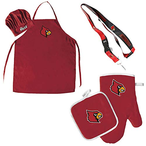 Pro Specialties Group Louisville Cardinals Chef hat Apron and Oven mitt Pot Holder BBQ Tailgate Set Lanyard