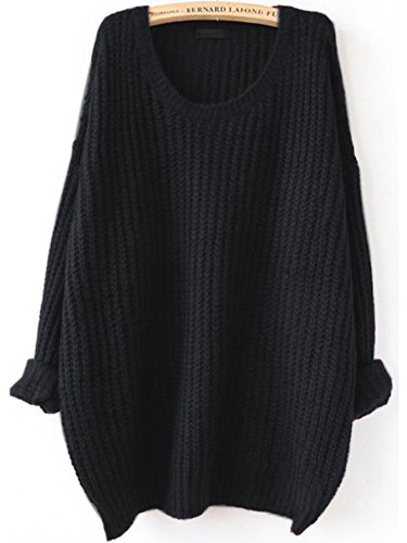 SweatyRocks Women's Embroidered Flower Oversized Knit Casual Loose Pullover Sweater (Small, Black#)