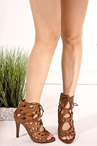 Pelle Scamosciata Dal Taglio Scamosciato, Design A Punta Aperta, Cinturino Alla Caviglia, Cinturino Con Tacco A Spillo Beige