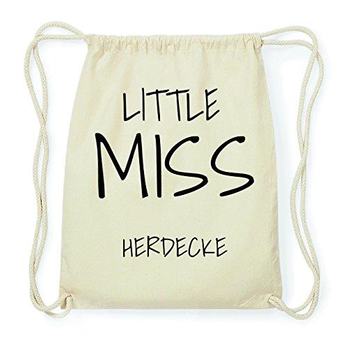 JOllify HERDECKE Hipster Turnbeutel Tasche Rucksack aus Baumwolle - Farbe: natur Design: Little Miss