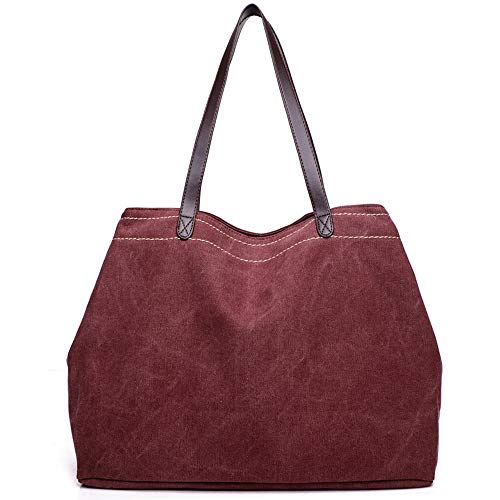 Tote GOLD Bag Casual Top Hobo Style Canvas Burgundy Bag Large KISS Handle TM Shoulder BP6ICqq