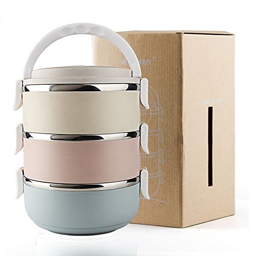 3 Tier Stainless Steel Metal Bento Lunch Box Insulated Th...
