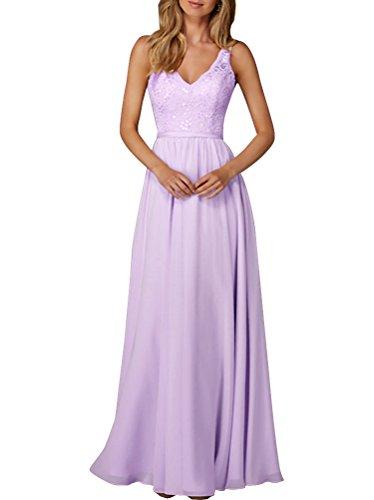 V Langes Ärmellos Lavendel Linie Satin Spitze Abendkleid Chiffon Ausschnitt Damen A Elegantes qxSXaX