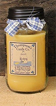 Thompson's Candle Co Glazed Lemon Cookies Mason Jar Candles Large Jar ~ 25 fl oz