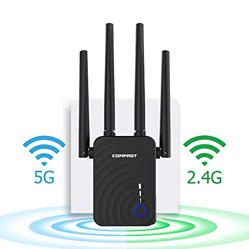 Upgraded 5G WiFi Booster, AC1200 Dual Band WiFi Range Extender Wireless Repeater/Access Point/Routerwith 4 High Power External Antennas-2 Ethernet Ports for Whole Home WiFi Coverage