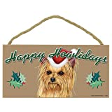 Happy Howlidays Yorkie (Brown Face With Bow In Hair) Wood Sign