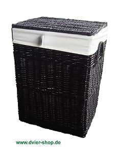 Cesto para la ropa sucia DVier de mimbre negro 32 x 24 H, 46