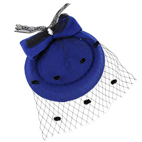 Sayhi Beret Feather Hat Fascinators Hat Tea Party Headwear Mesh Net Feather Hair Accessory Kentucky Derby Hat(Blue,free size)