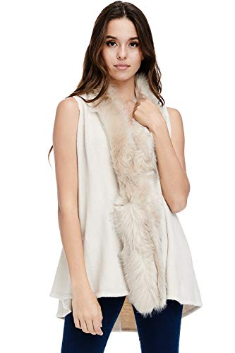(Alexander + David Womens Faux Fur Sweater Vest - Sleeveless Trim Shawl (Ivory, One)
