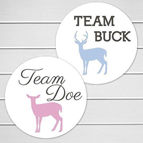 2'' - 40 Deer Gender Reveal Stickers, Team Buck and Team Doe (#361) by Orange Umbrella Co