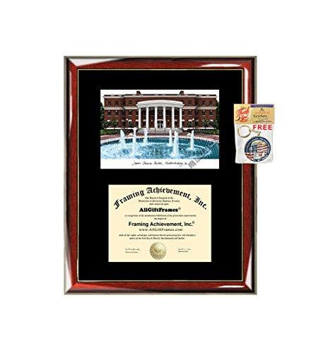 University of Mary Washington Diploma Frame Lithograph UMW Premium Wood Glossy Prestige Mahogany with Gold Accents - Single Black Mat - University Diploma Frame