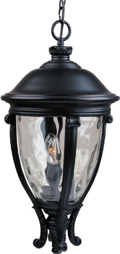 - Maxim 41429WGBK Camden VX 3-Light Outdoor Hanging Lantern, Black Finish, Water Glass Glass, CA Incandescent Incandescent Bulb , 60W Max., Dry Safety Rating, Standard Dimmable, Fabric Shade Material, 6048 Rated Lumens