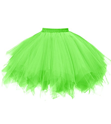 Dresstore Women's Short Vintage Petticoat Skirt Ballet Bubble Tutu Multi-colored Green L/XL